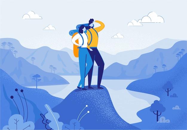 Paare der jungen frau und des mannes, die in den bergen wandern Premium Vektoren