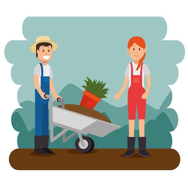 Paare der jungen gärtner, die gartenarbeitarbeit tun Premium Vektoren