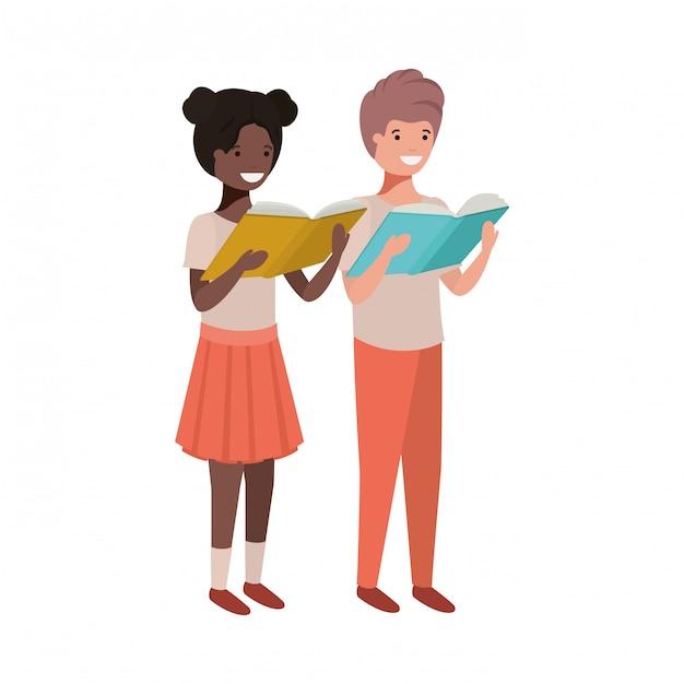 Paare des studenten mit lesebuch in den händen Kostenlosen Vektoren