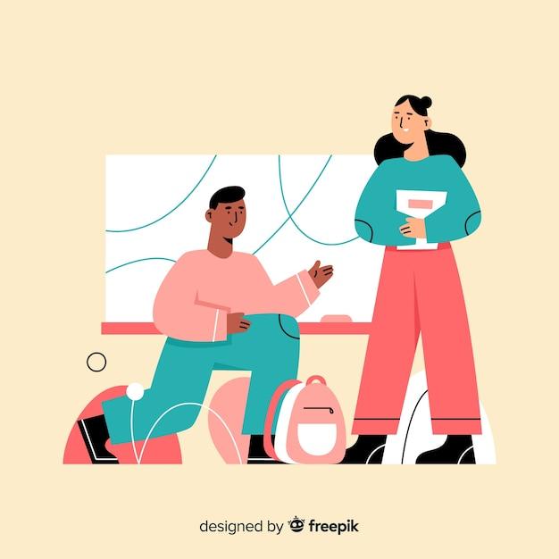 Paare, die am universitätslagerkonzept sprechen Kostenlosen Vektoren