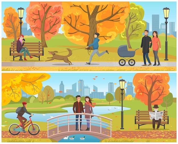 Paare, die auf brücke autumn park set vector stehen Premium Vektoren