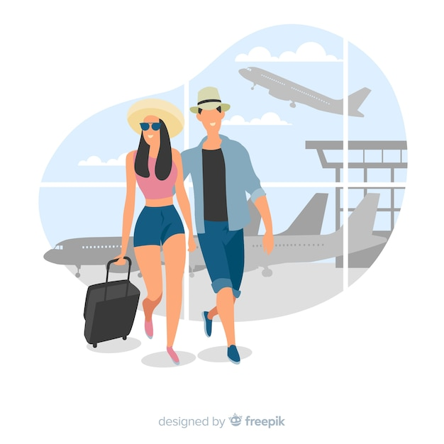Paare, die auf einen reisehintergrund gehen Kostenlosen Vektoren