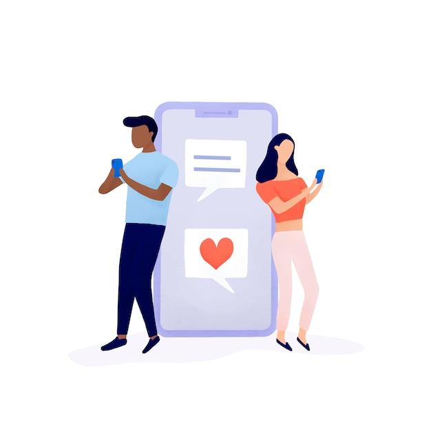 Paare, die auf social media-vektor plaudern Kostenlosen Vektoren