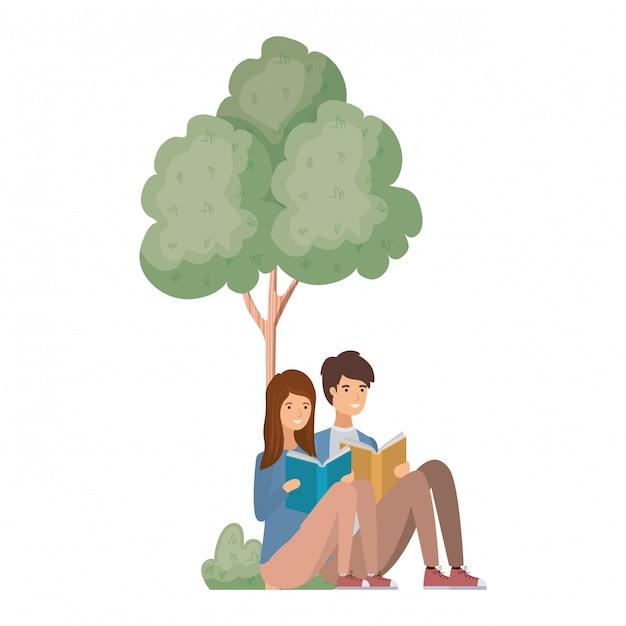 Paare, die mit buch in der landschaft mit bäumen und anlagen sitzen Premium Vektoren