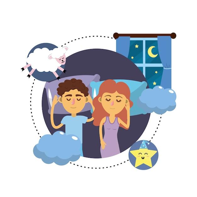 Paare, die zusammen mit guten träumen schlafen Premium Vektoren