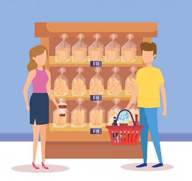 Paare im supermarktfach mit brottaschen Kostenlosen Vektoren