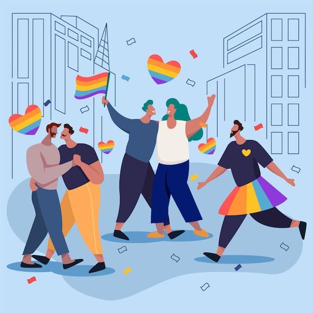 Paare in der stadt feiern stolz tag Kostenlosen Vektoren