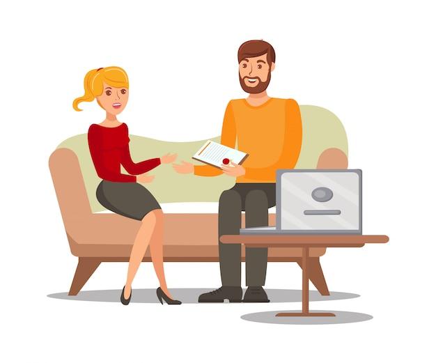 Paare mit dokumenten-flacher vektor-illustration Premium Vektoren