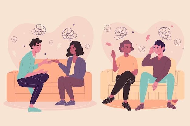 Paare sitzen auf sofas und kämpfen Kostenlosen Vektoren