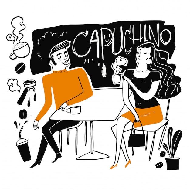 Paare trinken kaffee. Premium Vektoren