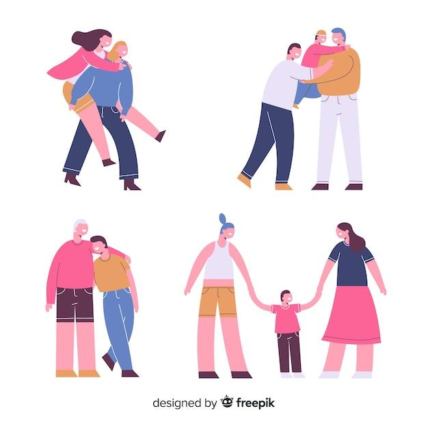 Paare und familien des stolzes Kostenlosen Vektoren