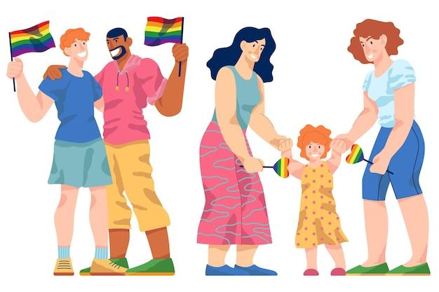 Paare und familien feiern stolz tag design Kostenlosen Vektoren