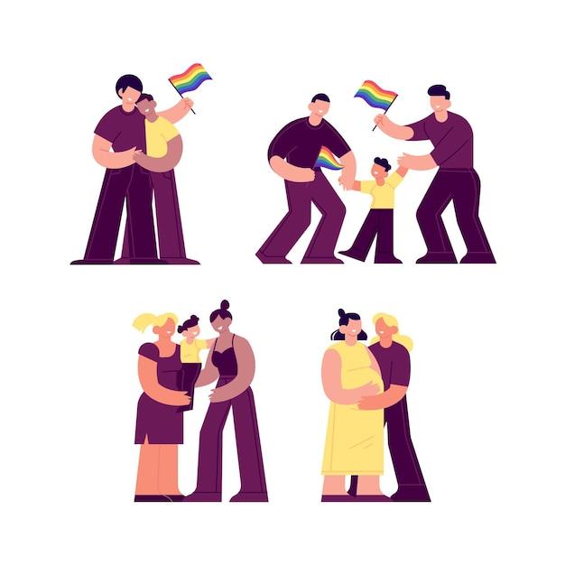 Paare und familien feiern stolz tag mit fahnen Kostenlosen Vektoren