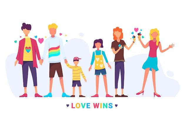 Paare und familien feiern stolz tag Kostenlosen Vektoren