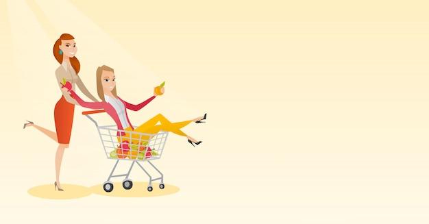 Paare von den freunden, die in einkaufslaufkatze fahren. Premium Vektoren