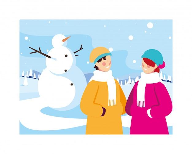 Paare von leuten mit schneemann in der winterlandschaft Premium Vektoren
