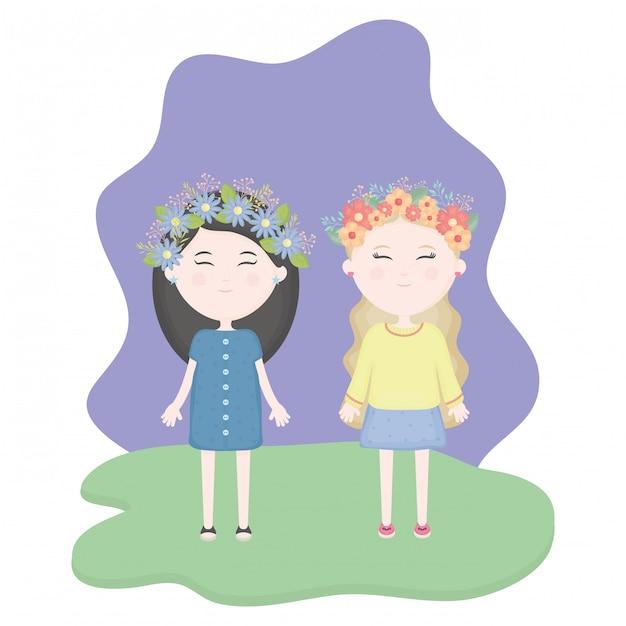 Paare von netten mädchen mit blumenkrone im haar auf dem gebiet Kostenlosen Vektoren