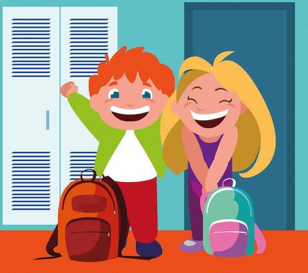 Paare von studenten im schulkorridor mit schließfächern, zurück zu schule Premium Vektoren