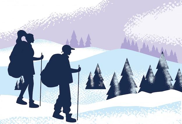 Paarreisender in der snowscape naturszene Premium Vektoren
