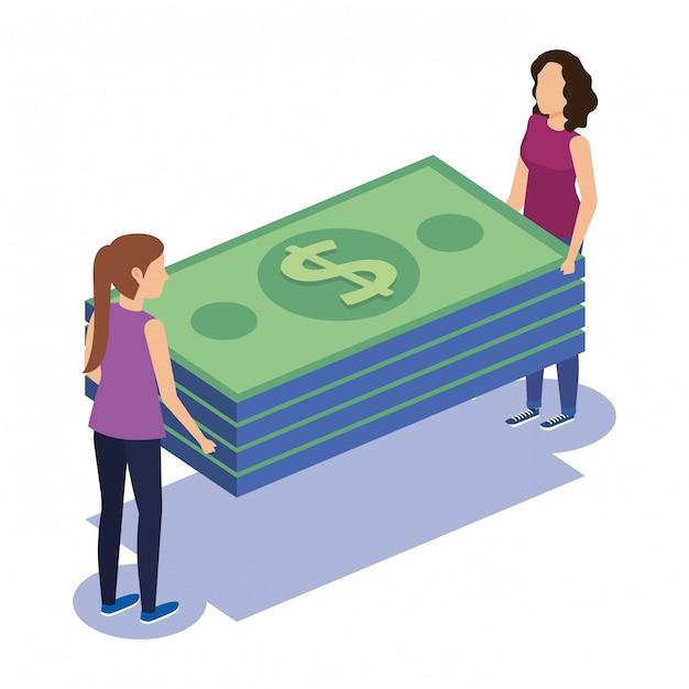 Paarteamwork mit rechnungen Kostenlosen Vektoren