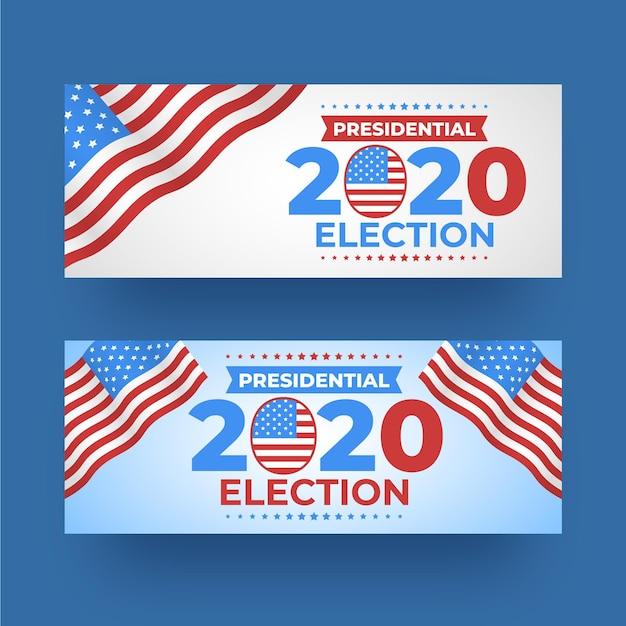 Pack 2020 uns präsidentschaftswahl banner Kostenlosen Vektoren