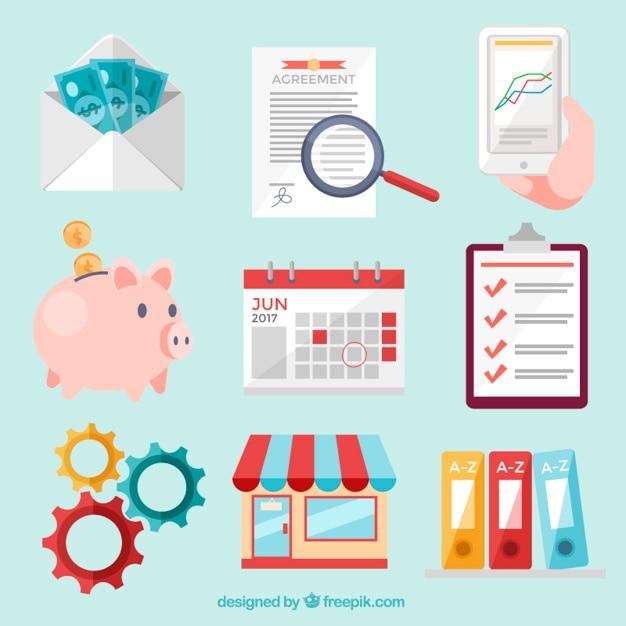 Pack-business-icons Kostenlosen Vektoren