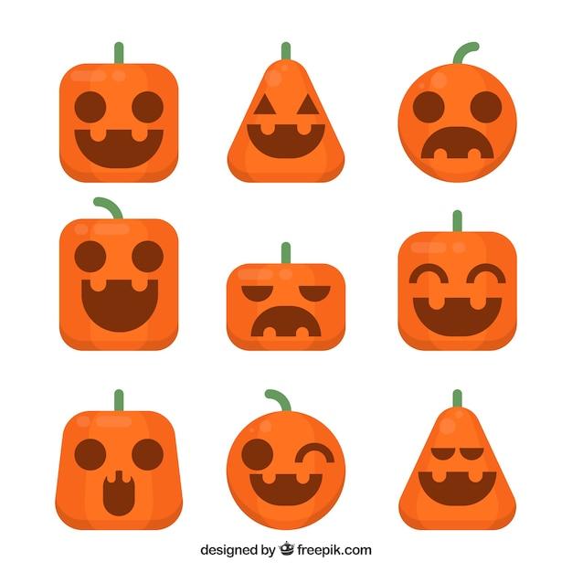 Pack Halloween Kürbisse mit schönen Gesichtern in flachem Design ...