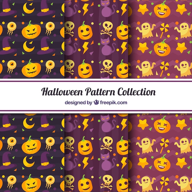 Pack halloween-muster mit dekorativen elementen Kostenlosen Vektoren