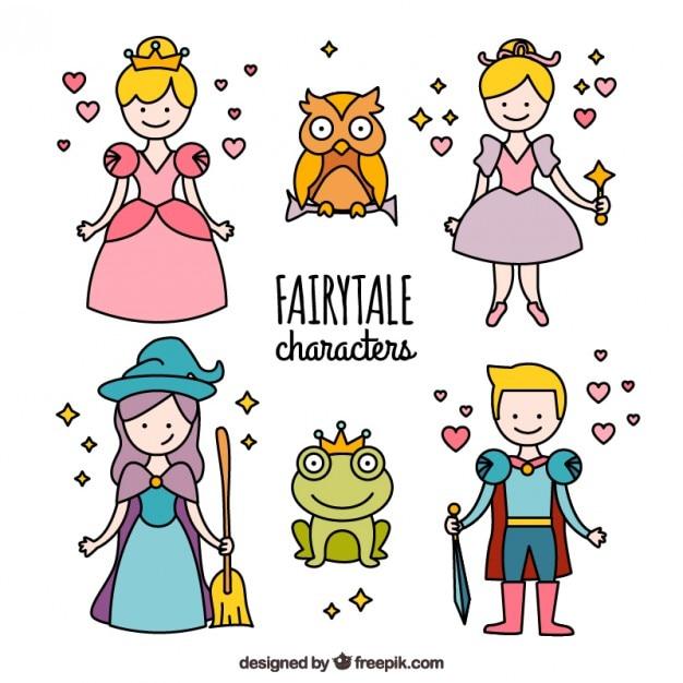 Pack Prinzessin Geschichte Zeichen | Download der kostenlosen Vektor