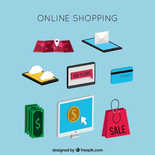 Pack von artikeln online kaufen im isometrischen stil Kostenlosen Vektoren