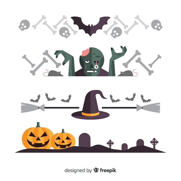 Pack von Halloween Grenzen | Download der kostenlosen Vektor