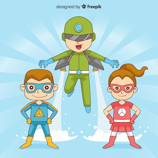 Pack von kindern als superhelden verkleidet Kostenlosen Vektoren