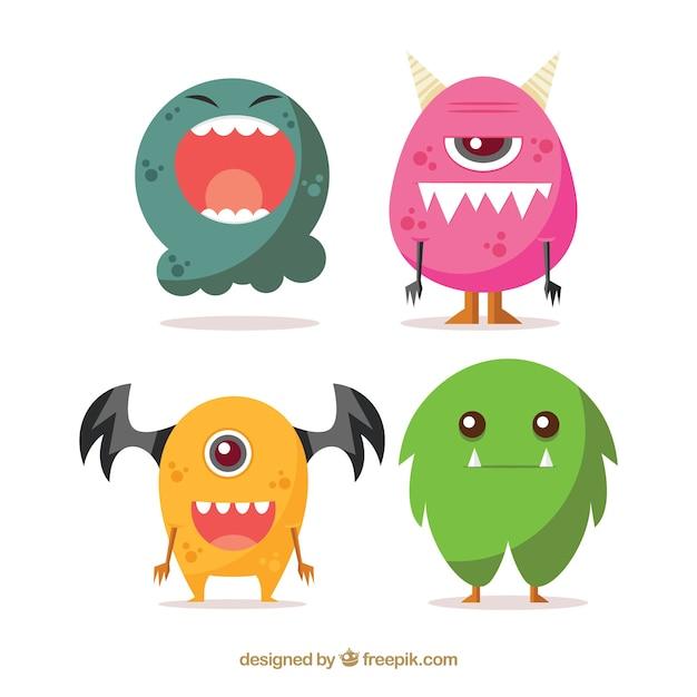 Pack von lustigen halloween-monstern im flachen design Kostenlosen Vektoren