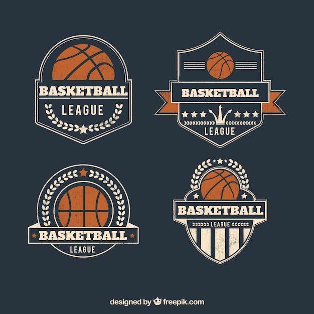 Pack von vintage-basketball-abzeichen Kostenlosen Vektoren