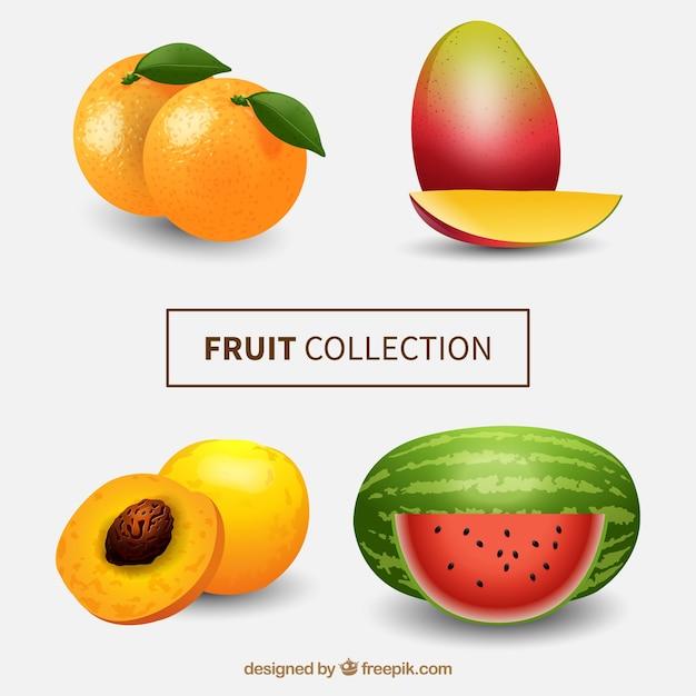 Packen sie exotische früchte im realistischen stil Kostenlosen Vektoren