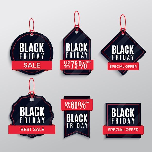 Packen sie schwarzen freitag-verkauf aufkleber design Premium Vektoren