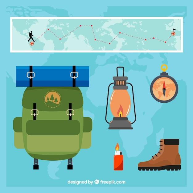 Packung abenteuerreiseartikel Kostenlosen Vektoren