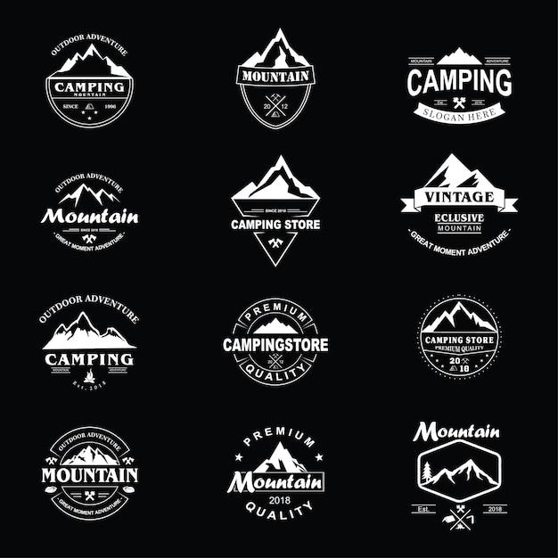 Packung berg jahrgang logo Premium Vektoren