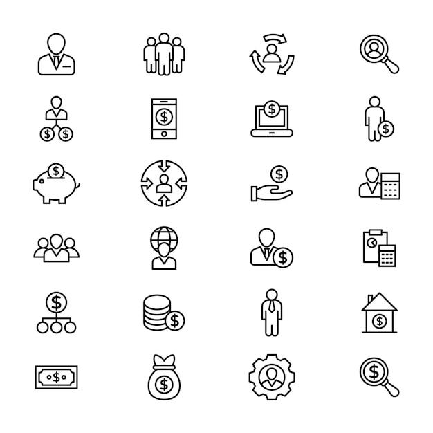 Packung buinessmen linie icons Premium Vektoren