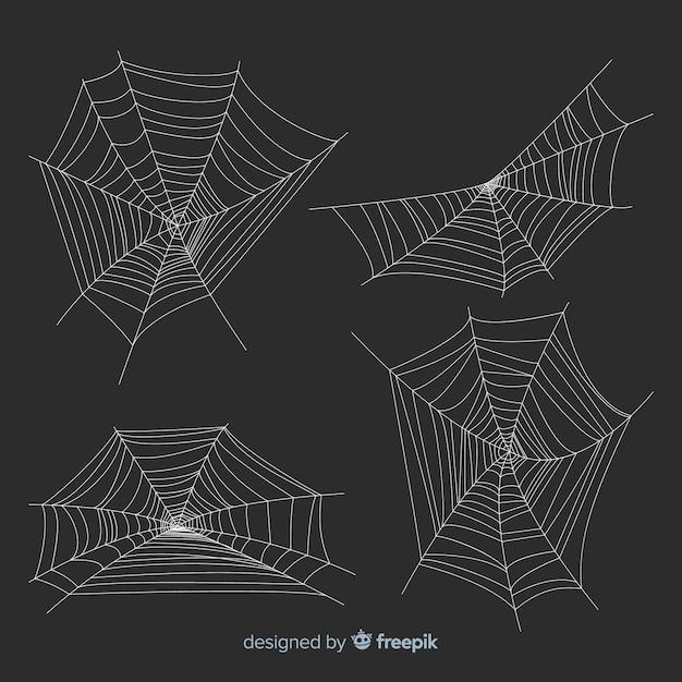 Packung halloween spinnweben Kostenlosen Vektoren
