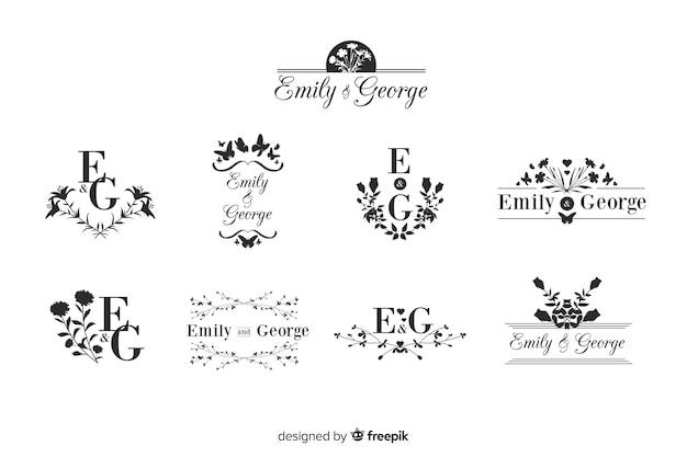 Packung hochzeit monogramm logos Kostenlosen Vektoren