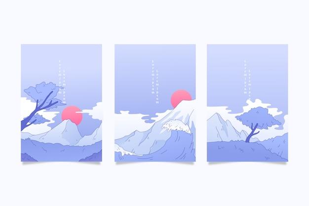 Packung japanisch deckt minimalistisches design Kostenlosen Vektoren