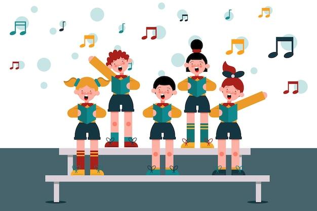 Packung kinder singen in einem chor Premium Vektoren