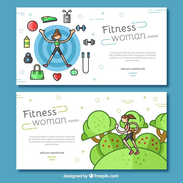 Packung mit banner witz fitness-tools und frau läuft Kostenlosen Vektoren