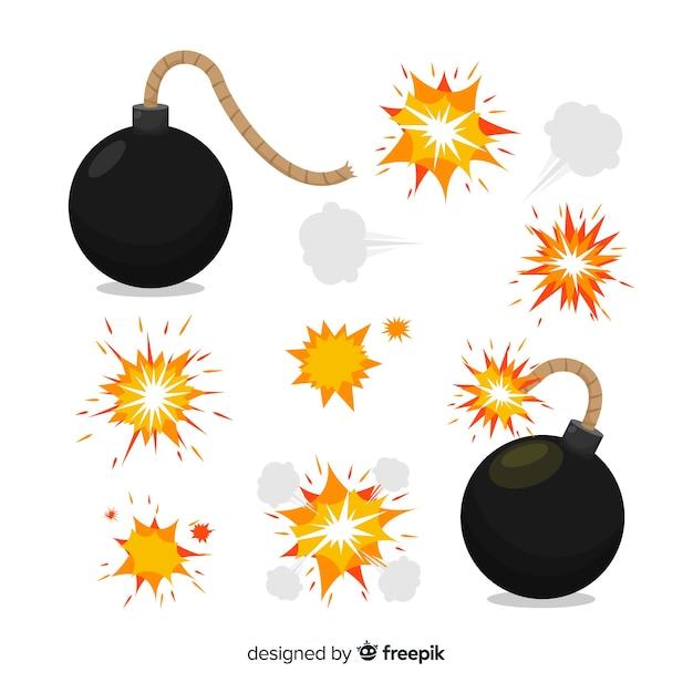 Packung mit bomben und explosionseffekten Kostenlosen Vektoren