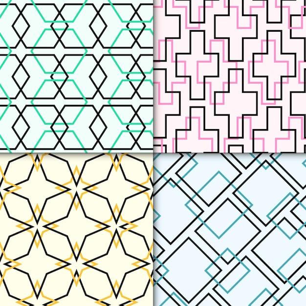 Packung mit bunten geometrisch gezeichneten mustern Kostenlosen Vektoren