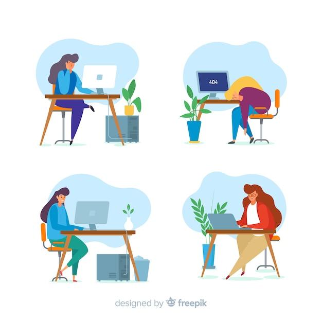 Packung mit bunten illustrierten programmierer arbeiten Kostenlosen Vektoren