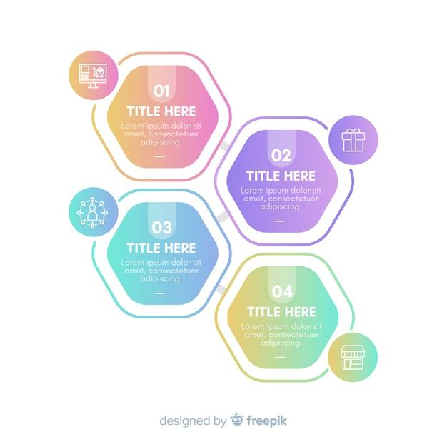 Packung mit bunten infografik schritte Kostenlosen Vektoren