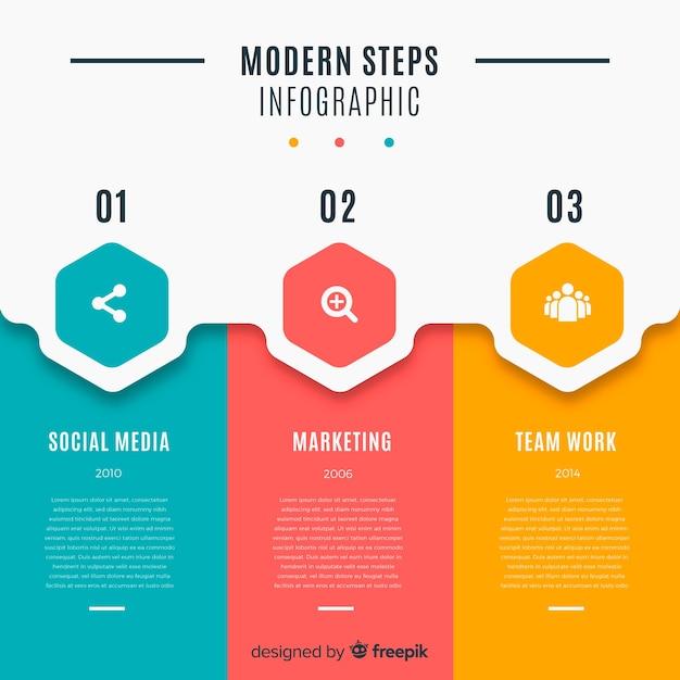 Packung mit bunten infografik schritte Premium Vektoren
