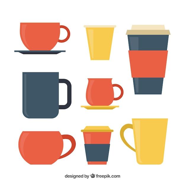 Packung mit bunten kaffeetassen Kostenlosen Vektoren
